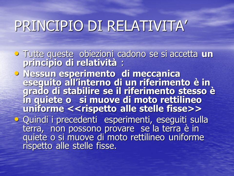 PRINCIPIO DI RELATIVITA'