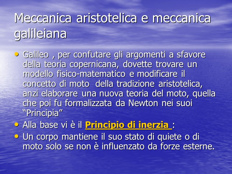 Meccanica aristotelica e meccanica galileiana