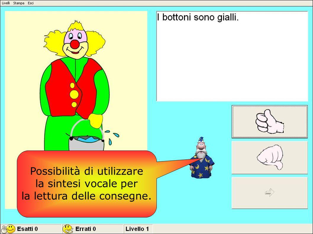 Possibilità di utilizzare la sintesi vocale per
