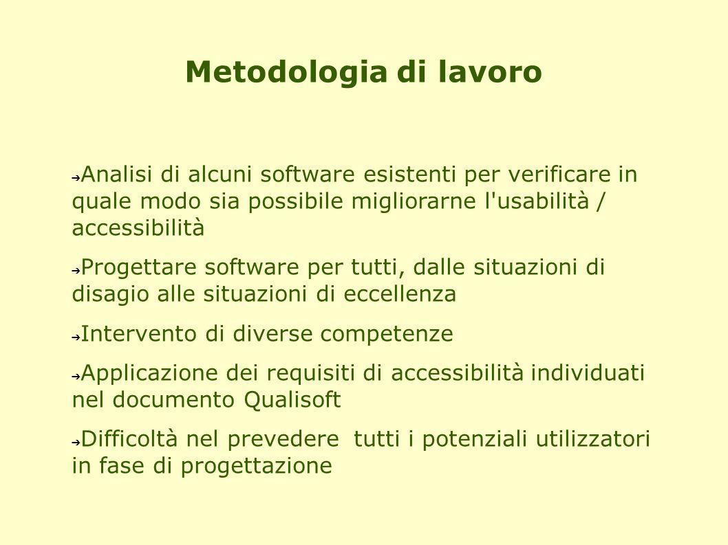 Metodologia di lavoro Analisi di alcuni software esistenti per verificare in quale modo sia possibile migliorarne l usabilità / accessibilità.