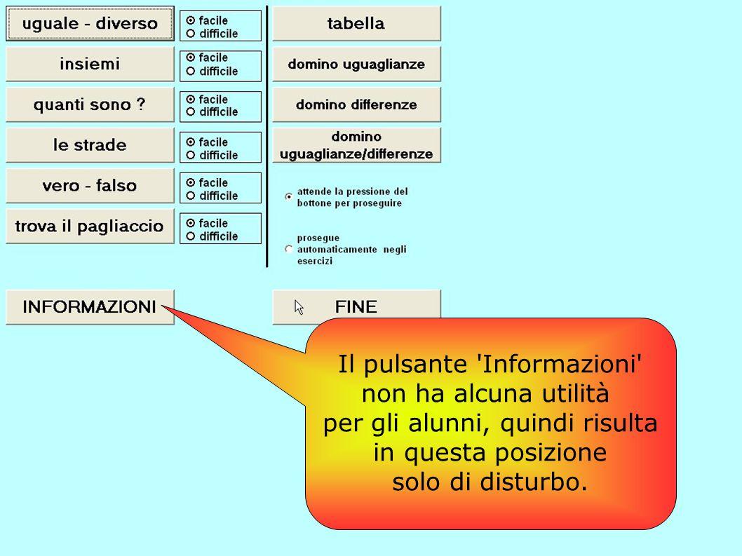 Il pulsante Informazioni non ha alcuna utilità