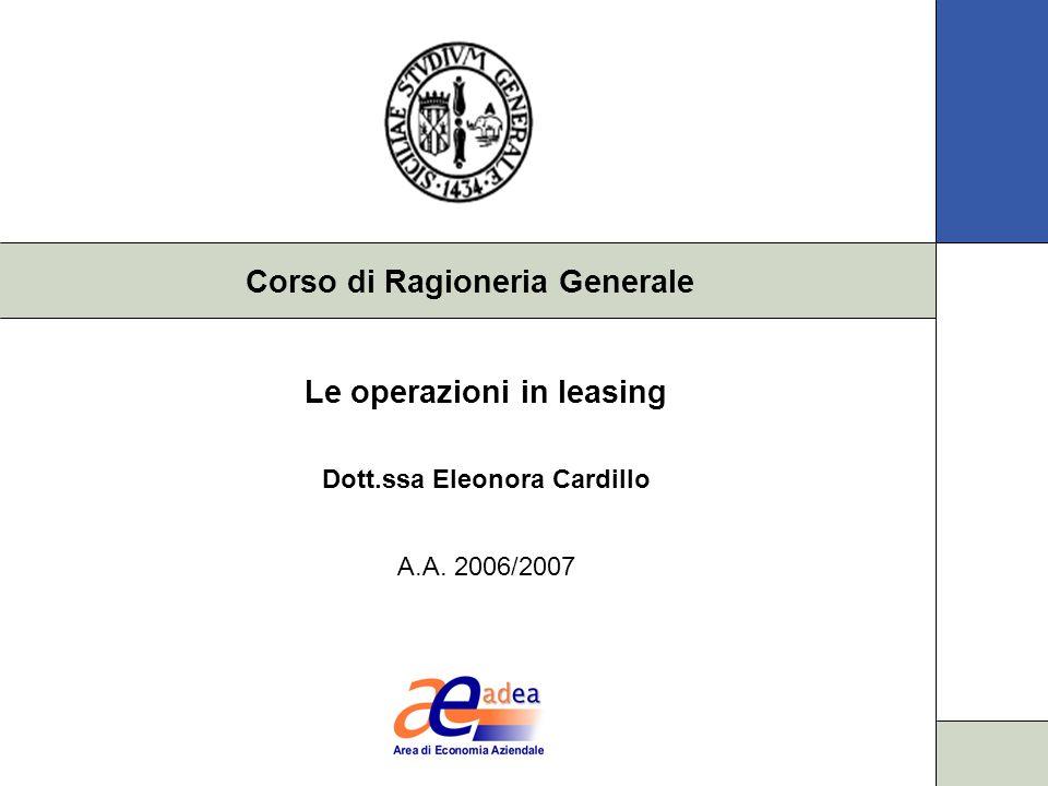 Le operazioni in leasing Dott.ssa Eleonora Cardillo A.A. 2006/2007