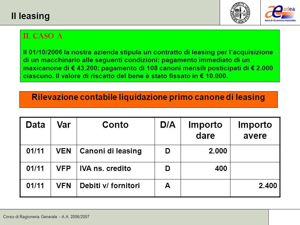 Rilevazione contabile liquidazione primo canone di leasing