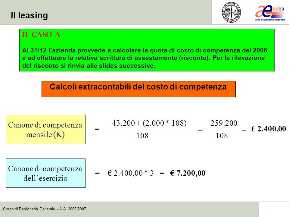Calcoli extracontabili del costo di competenza