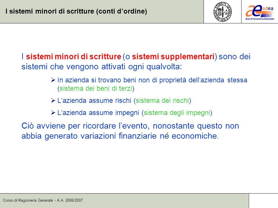 I sistemi minori di scritture (conti d'ordine)