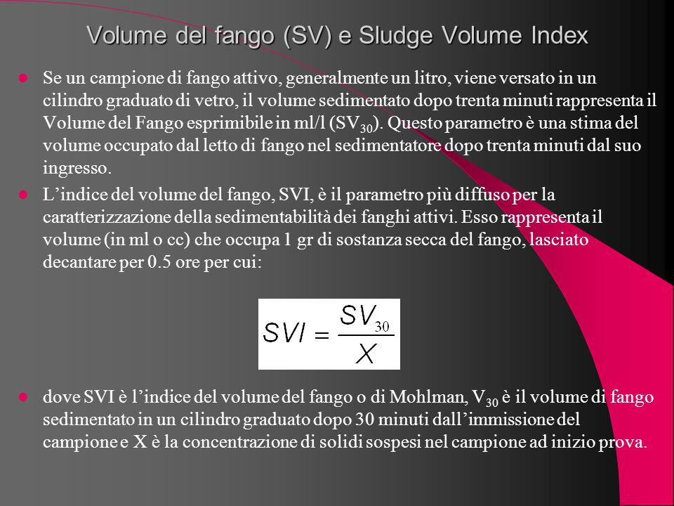 Volume del fango (SV) e Sludge Volume Index