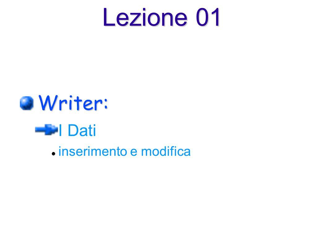 Lezione 01 Writer: I Dati inserimento e modifica