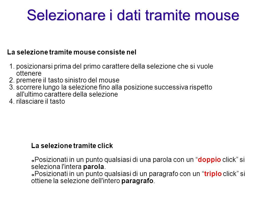 Selezionare i dati tramite mouse