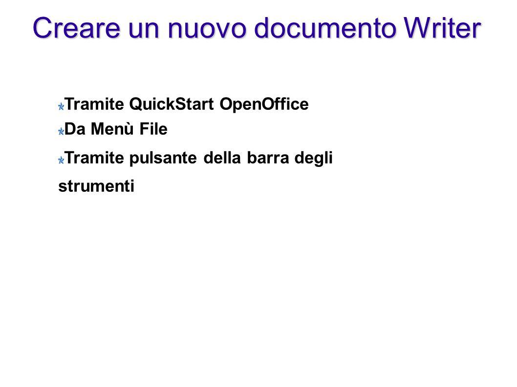 Creare un nuovo documento Writer