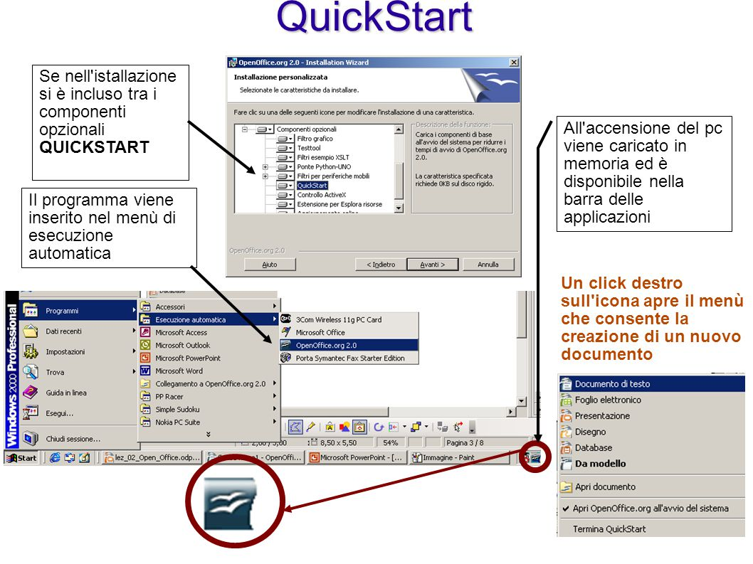 QuickStart Se nell istallazione si è incluso tra i componenti opzionali QUICKSTART.