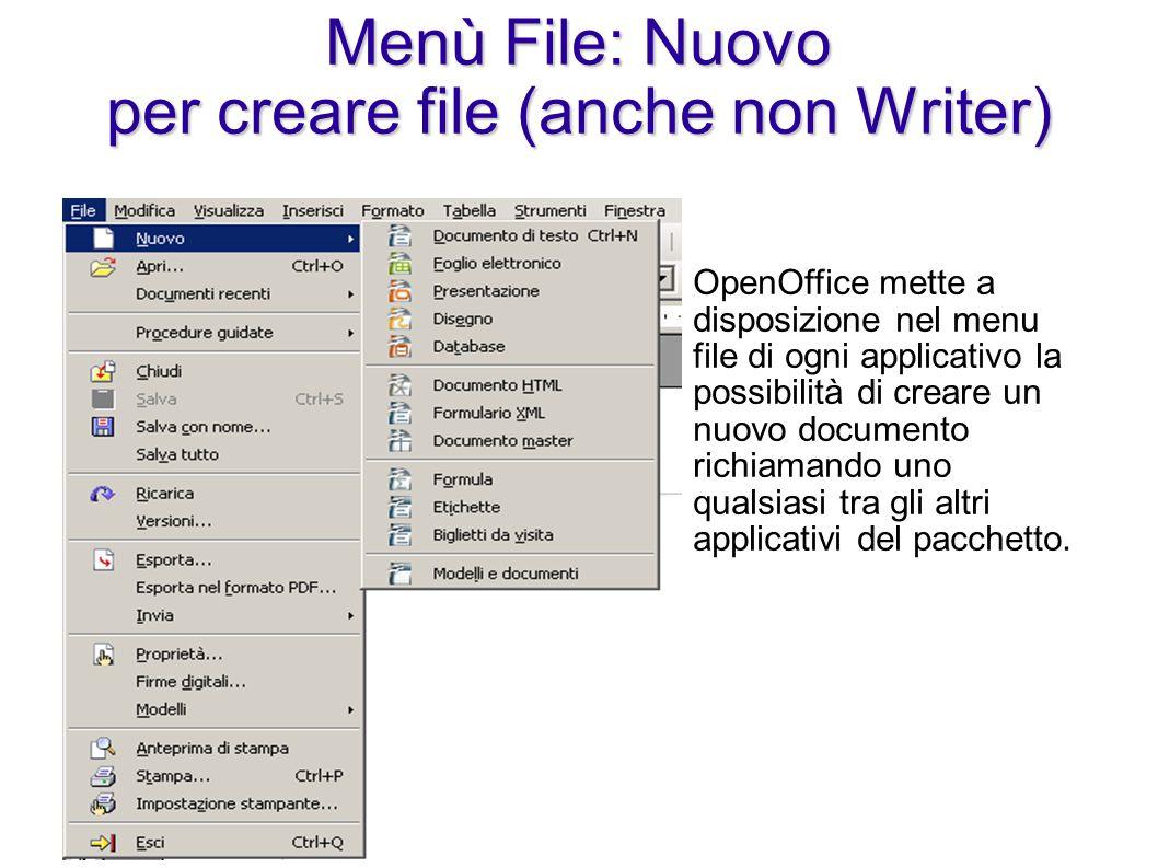 Menù File: Nuovo per creare file (anche non Writer)
