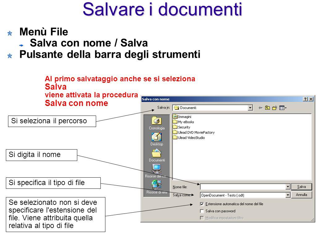 Salvare i documenti Menù File Salva con nome / Salva