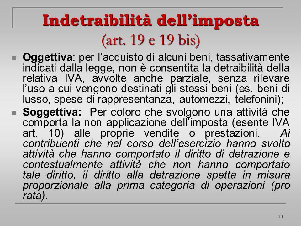Indetraibilità dell'imposta (art. 19 e 19 bis)