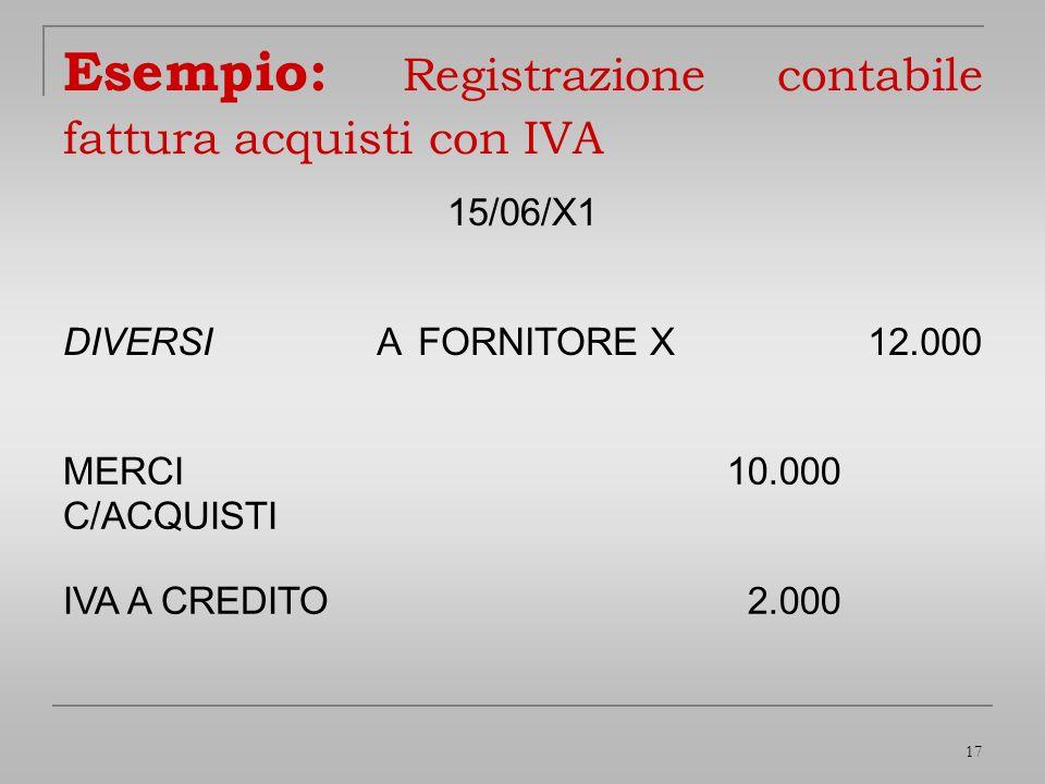 Esempio: Registrazione contabile fattura acquisti con IVA