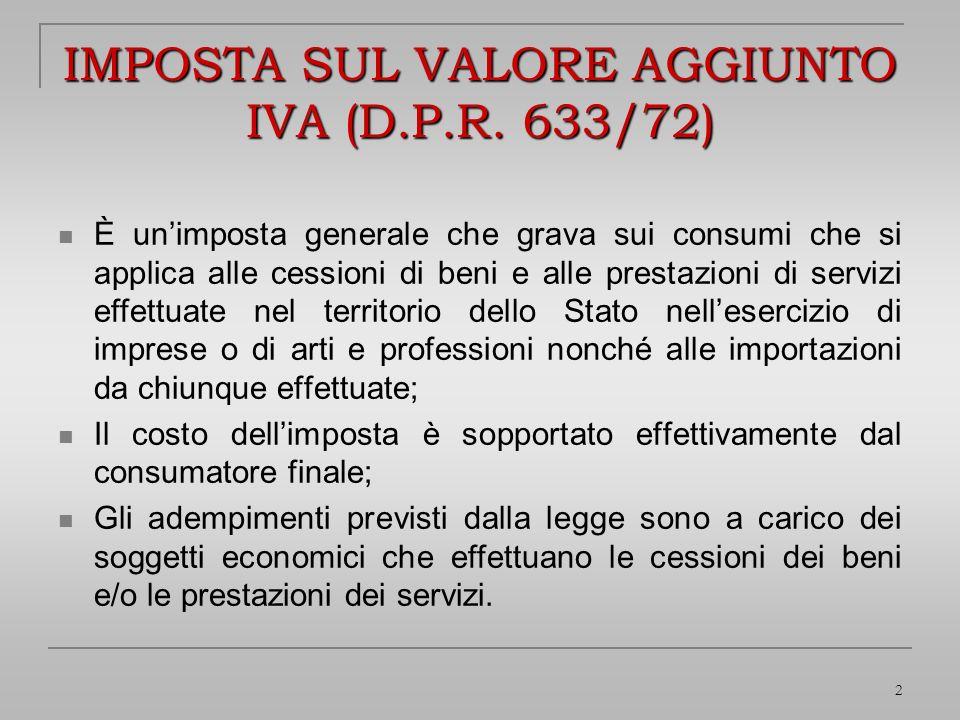 IMPOSTA SUL VALORE AGGIUNTO IVA (D.P.R. 633/72)