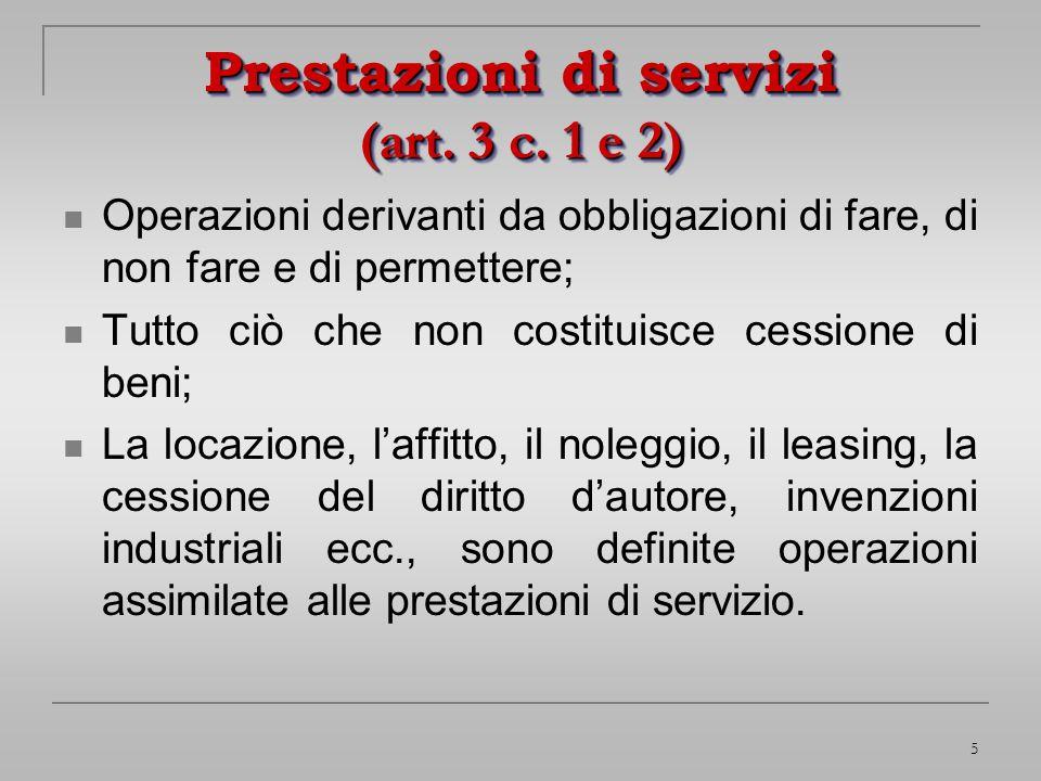 Prestazioni di servizi (art. 3 c. 1 e 2)