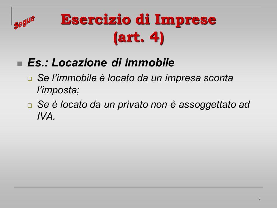 Esercizio di Imprese (art. 4)