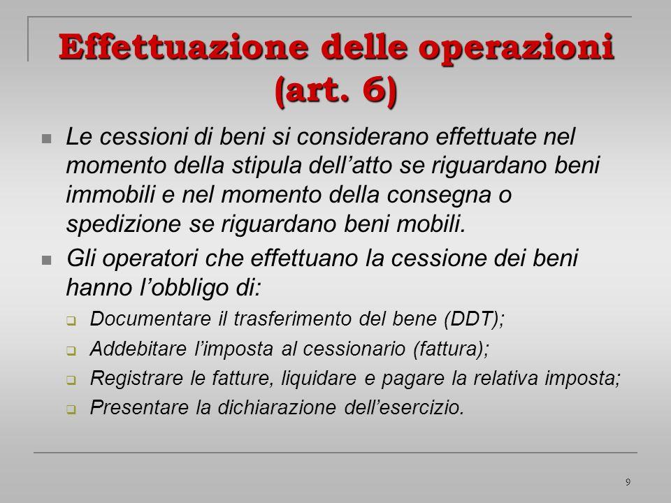 Effettuazione delle operazioni (art. 6)