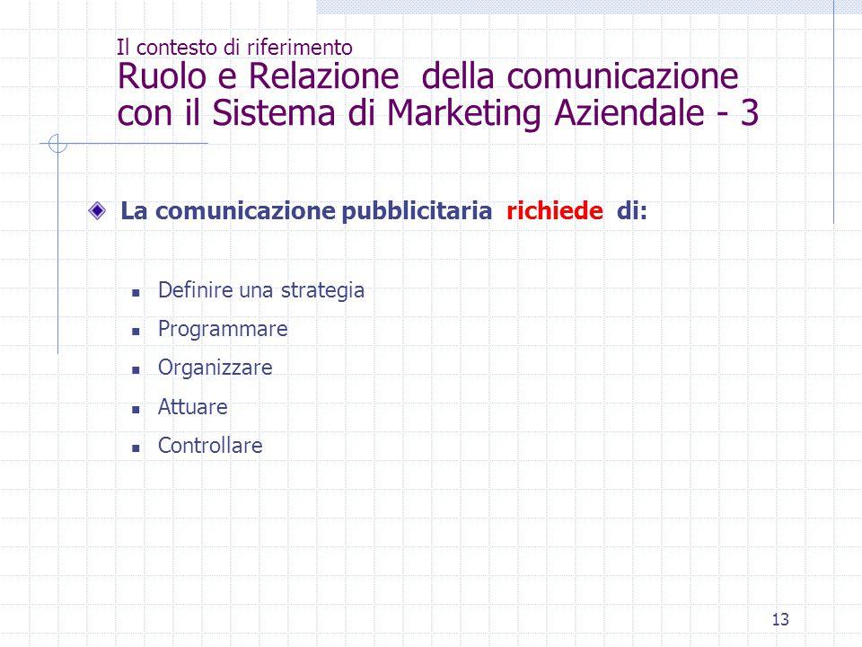 La comunicazione pubblicitaria richiede di:
