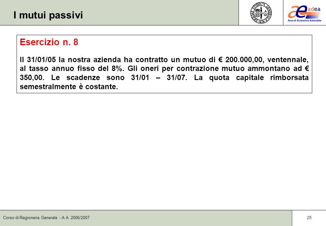 I mutui passivi Esercizio n. 8