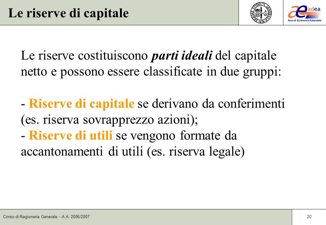 Le riserve di capitale Le riserve costituiscono parti ideali del capitale netto e possono essere classificate in due gruppi:
