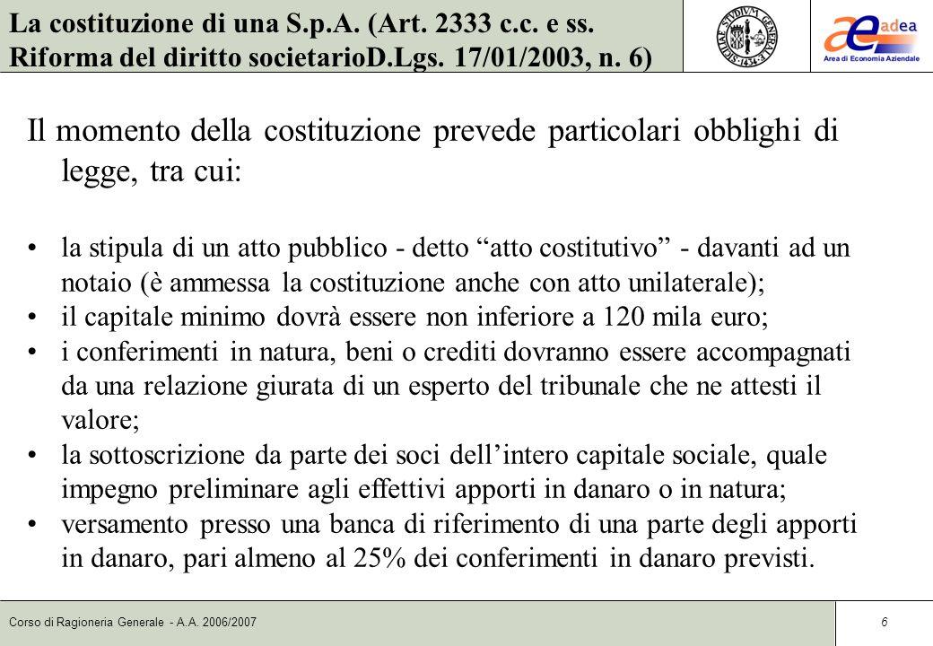 La costituzione di una S.p.A. (Art. 2333 c.c. e ss.