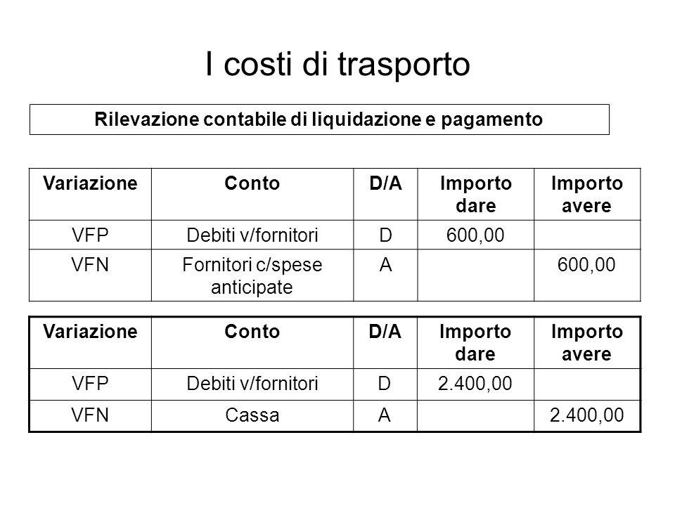 Rilevazione contabile di liquidazione e pagamento