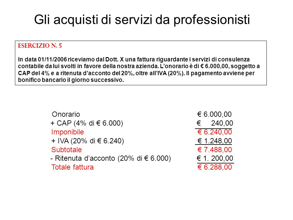 Gli acquisti di servizi da professionisti