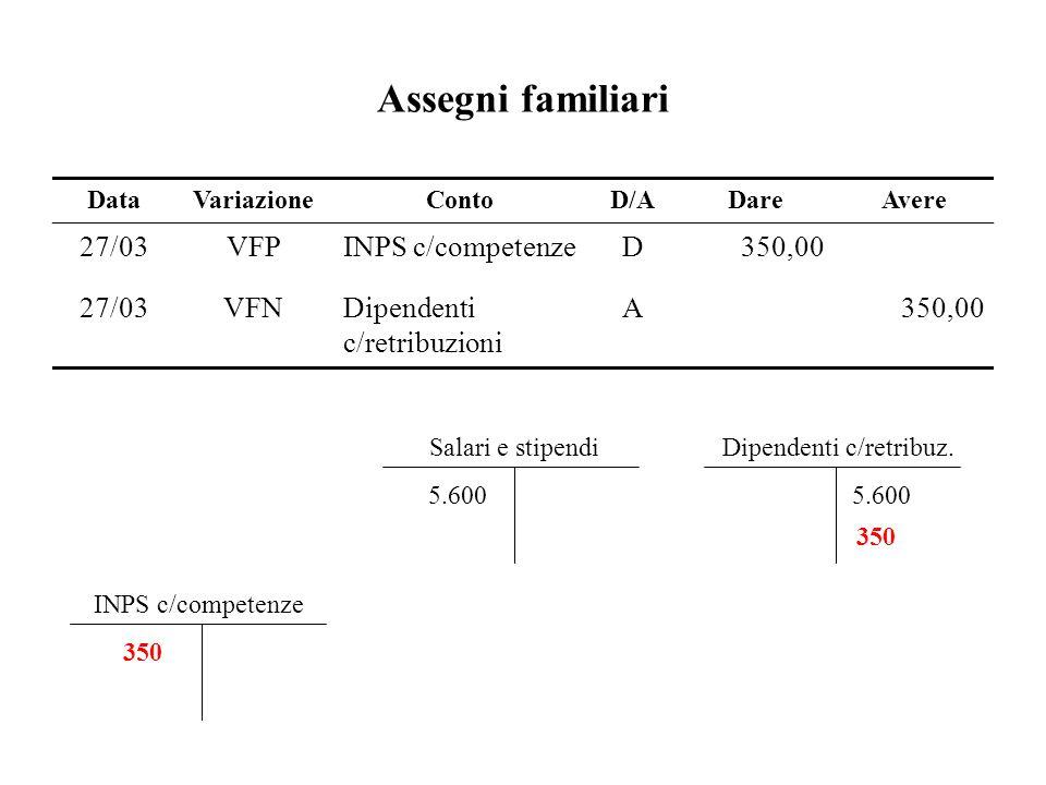 Assegni familiari 27/03 VFP INPS c/competenze D 350,00 VFN