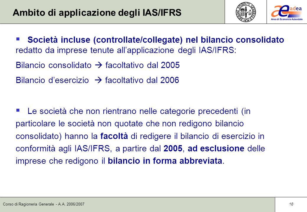 Ambito di applicazione degli IAS/IFRS