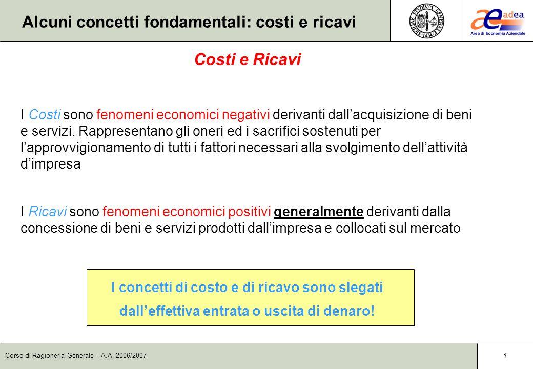 Alcuni concetti fondamentali: costi e ricavi