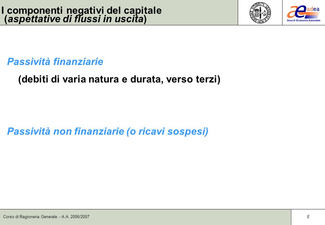 I componenti negativi del capitale (aspettative di flussi in uscita)