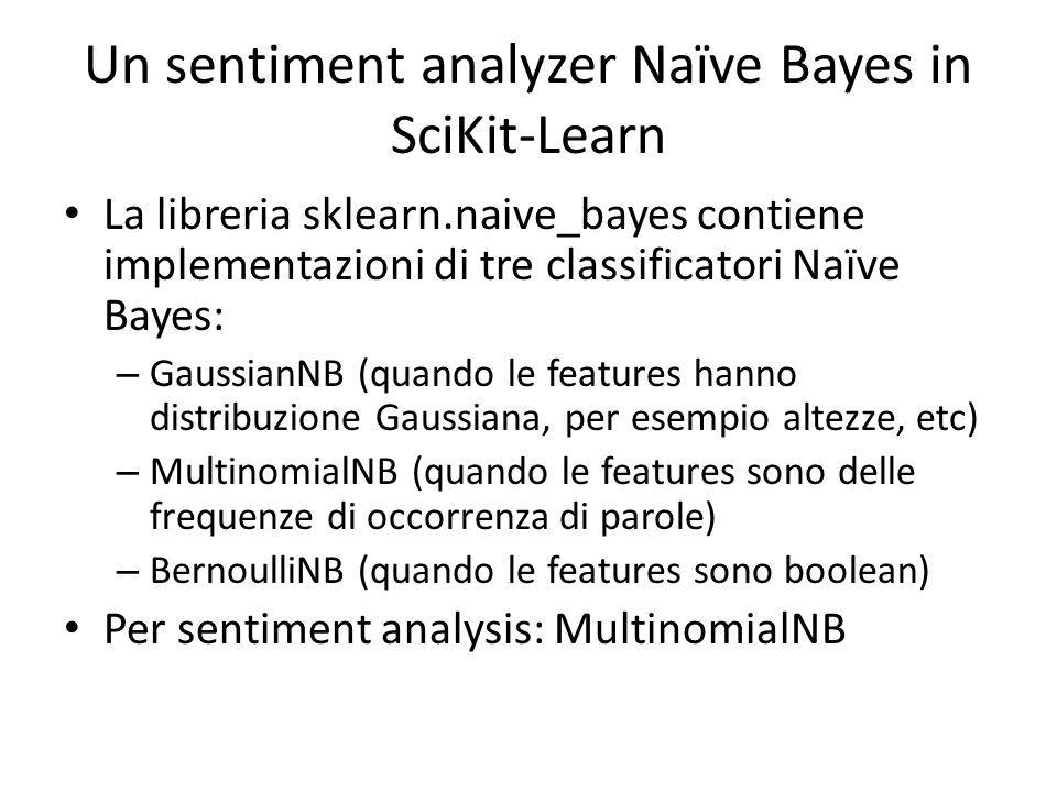 Un sentiment analyzer Naïve Bayes in SciKit-Learn