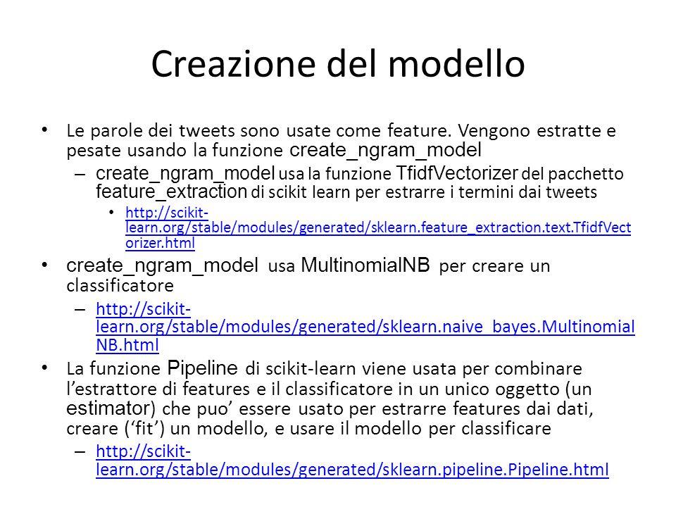 Creazione del modello Le parole dei tweets sono usate come feature. Vengono estratte e pesate usando la funzione create_ngram_model.