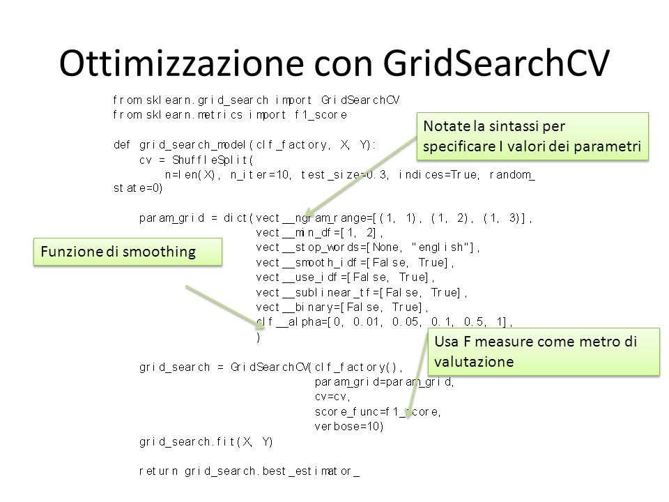 Ottimizzazione con GridSearchCV