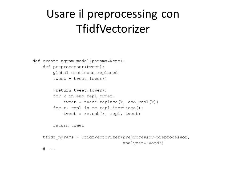 Usare il preprocessing con TfidfVectorizer