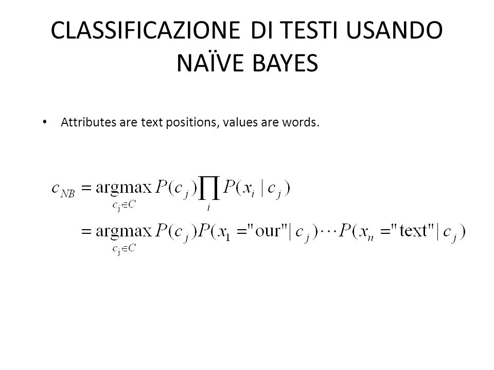 CLASSIFICAZIONE DI TESTI USANDO NAÏVE BAYES