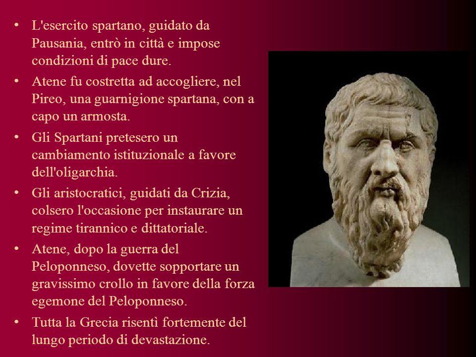 L esercito spartano, guidato da Pausania, entrò in città e impose condizioni di pace dure.