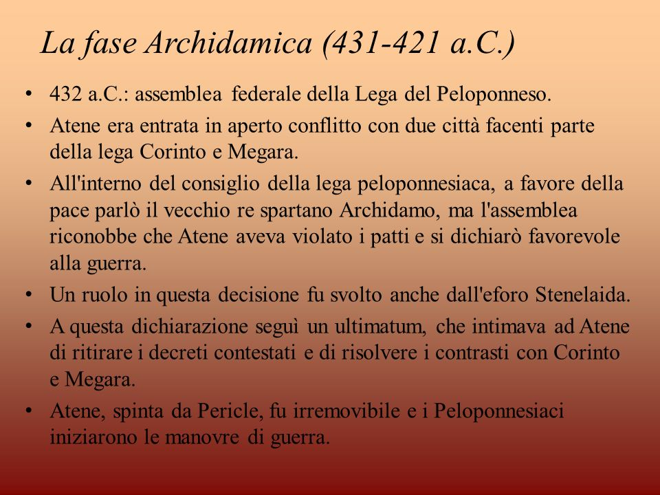 La fase Archidamica (431-421 a.C.)