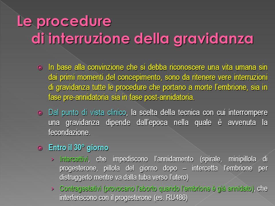 Le procedure di interruzione della gravidanza
