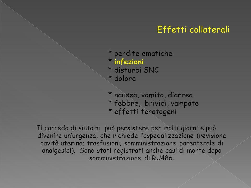 Effetti collaterali * perdite ematiche * infezioni * disturbi SNC