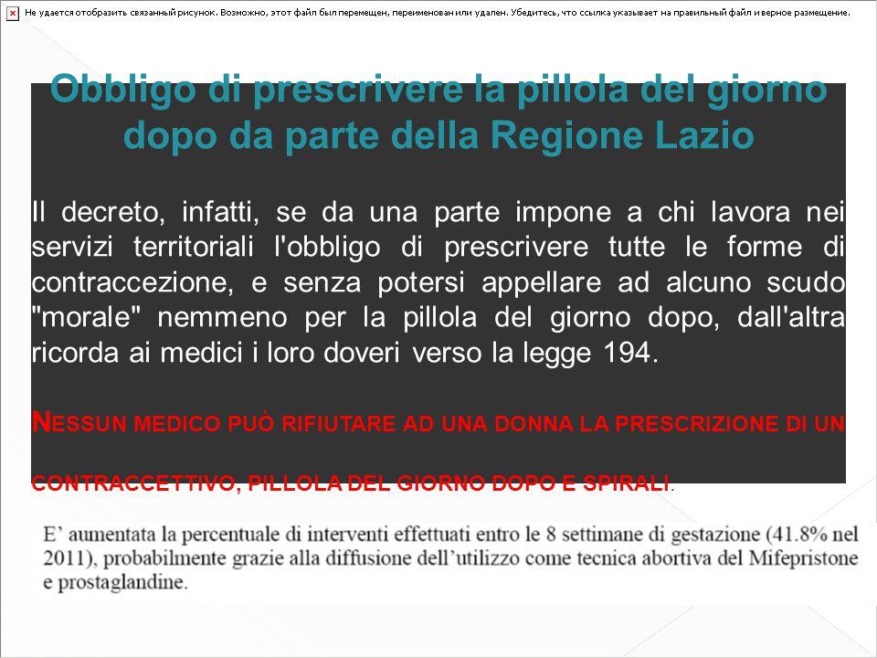 Obbligo di prescrivere la pillola del giorno dopo da parte della Regione Lazio