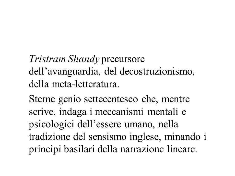 Tristram Shandy precursore dell'avanguardia, del decostruzionismo, della meta-letteratura.