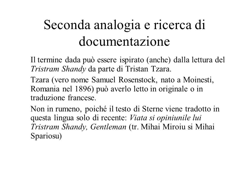 Seconda analogia e ricerca di documentazione