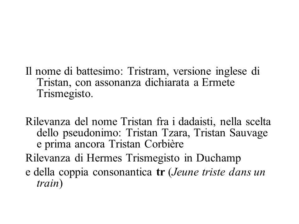 Il nome di battesimo: Tristram, versione inglese di Tristan, con assonanza dichiarata a Ermete Trismegisto.