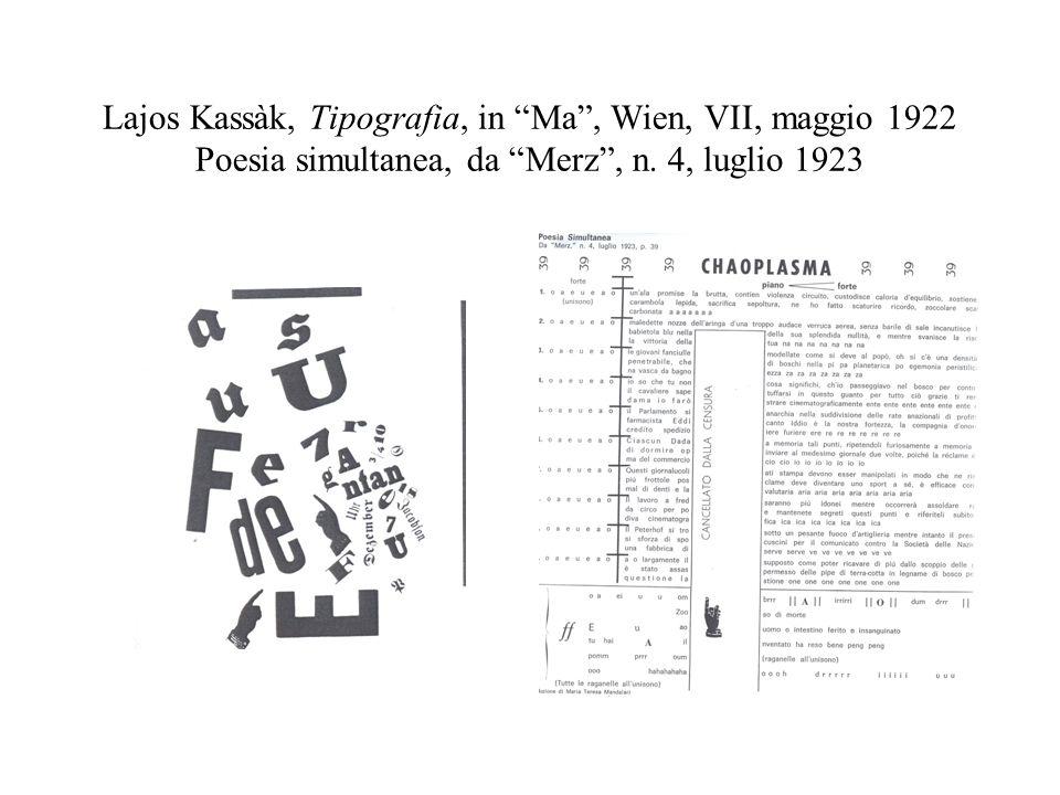 Lajos Kassàk, Tipografia, in Ma , Wien, VII, maggio 1922 Poesia simultanea, da Merz , n.
