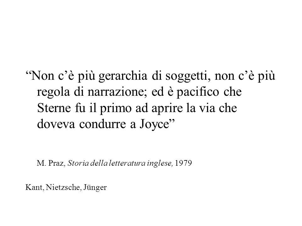 Non c'è più gerarchia di soggetti, non c'è più regola di narrazione; ed è pacifico che Sterne fu il primo ad aprire la via che doveva condurre a Joyce