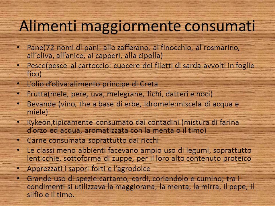 Alimenti maggiormente consumati