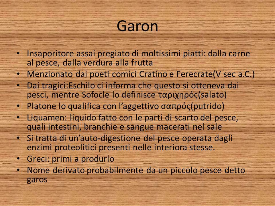 Garon Insaporitore assai pregiato di moltissimi piatti: dalla carne al pesce, dalla verdura alla frutta.