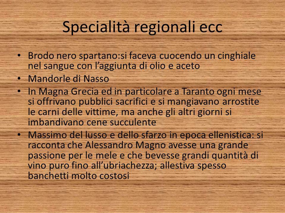 Specialità regionali ecc